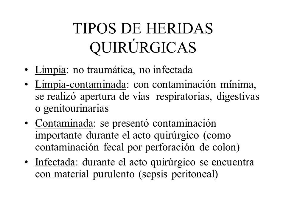 TIPOS DE HERIDAS QUIRÚRGICAS