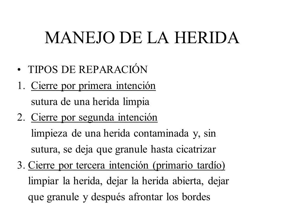 MANEJO DE LA HERIDA TIPOS DE REPARACIÓN