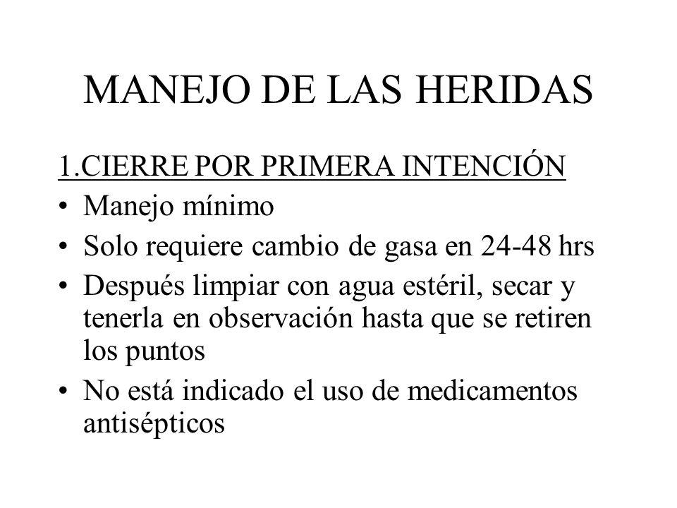 MANEJO DE LAS HERIDAS 1.CIERRE POR PRIMERA INTENCIÓN Manejo mínimo