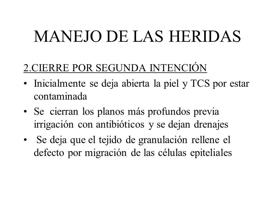 MANEJO DE LAS HERIDAS 2.CIERRE POR SEGUNDA INTENCIÓN
