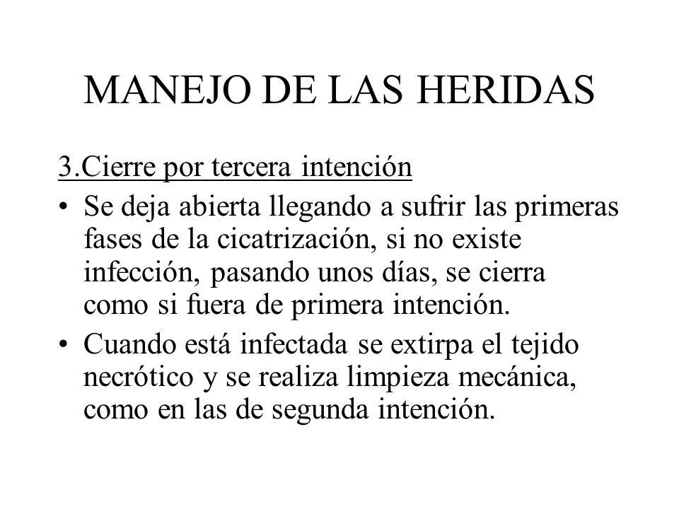 MANEJO DE LAS HERIDAS 3.Cierre por tercera intención