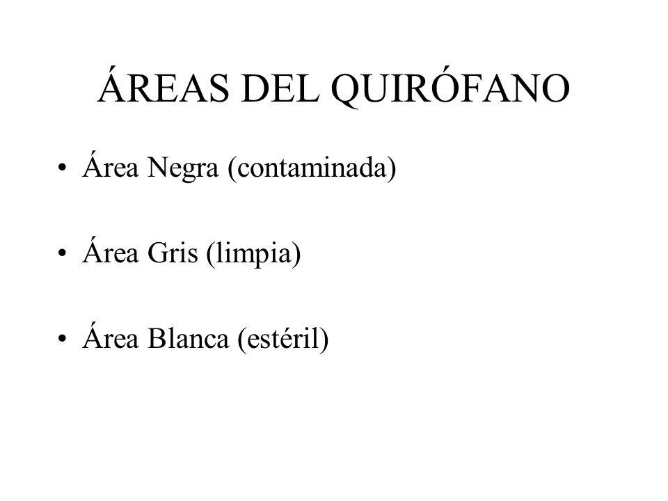 ÁREAS DEL QUIRÓFANO Área Negra (contaminada) Área Gris (limpia)