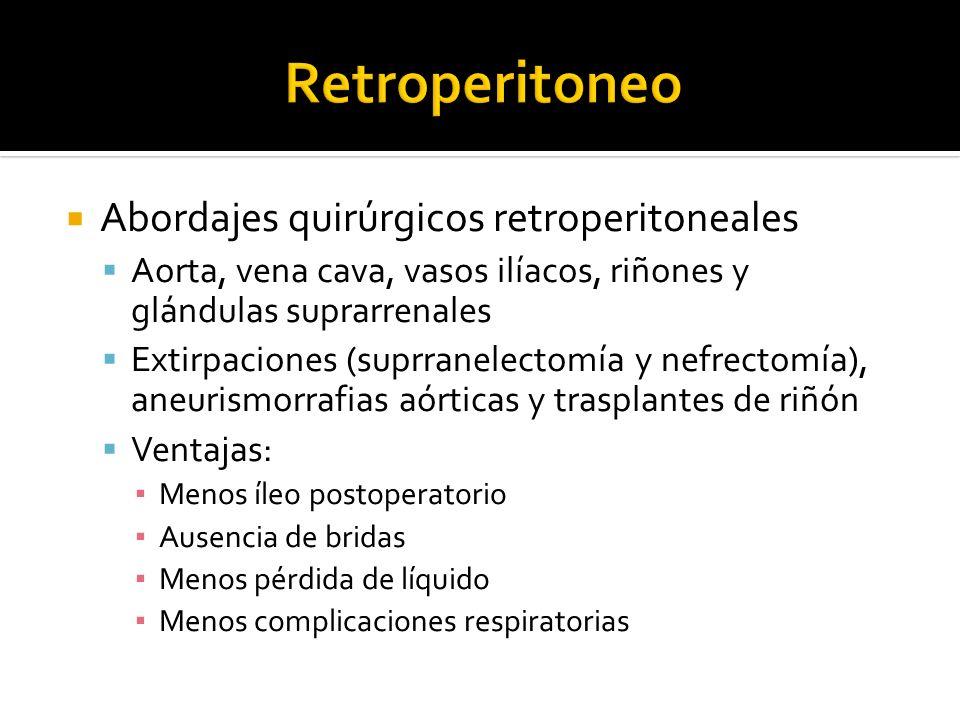 Retroperitoneo Abordajes quirúrgicos retroperitoneales