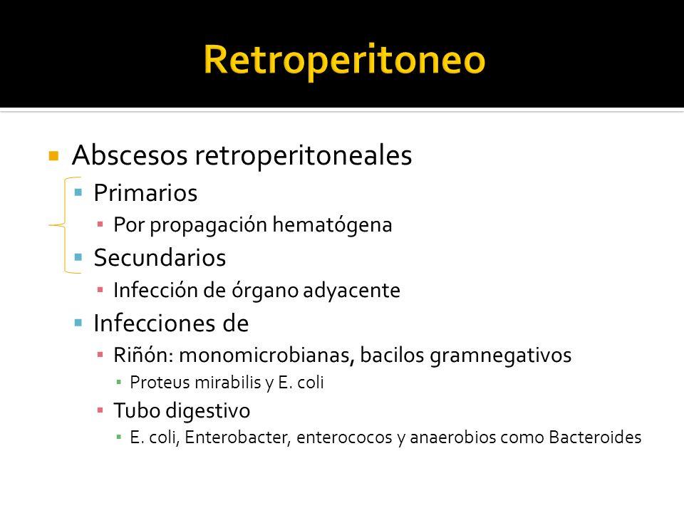 Retroperitoneo Abscesos retroperitoneales Primarios Secundarios