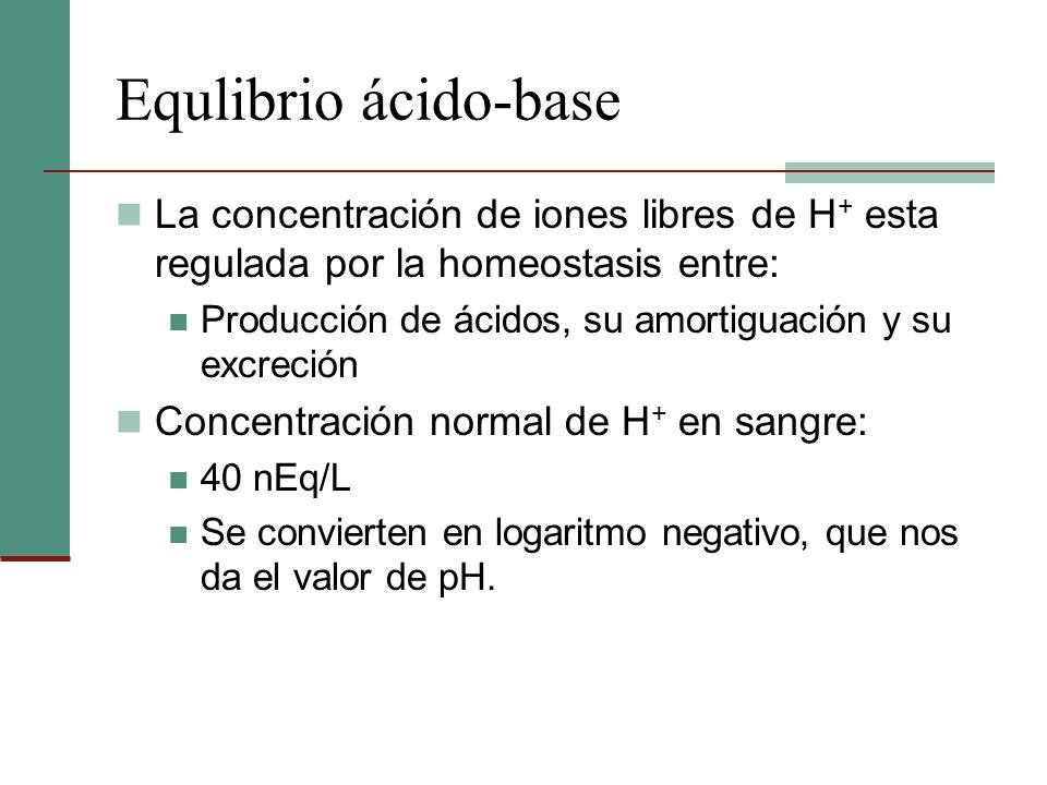 Equlibrio ácido-baseLa concentración de iones libres de H+ esta regulada por la homeostasis entre: