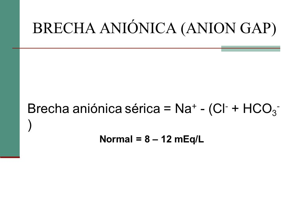 BRECHA ANIÓNICA (ANION GAP)