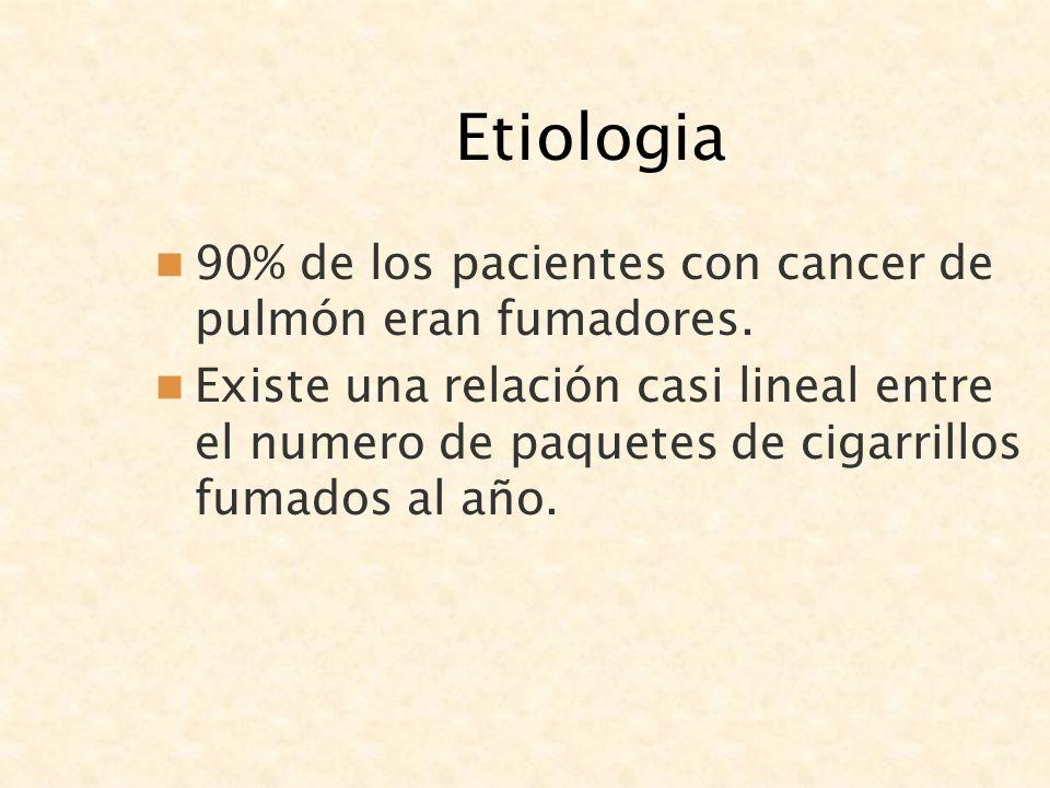 Etiologia 90% de los pacientes con cancer de pulmón eran fumadores.