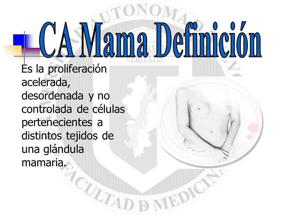 CA Mama DefiniciónEs la proliferación acelerada, desordenada y no controlada de células pertenecientes a distintos tejidos de una glándula mamaria.