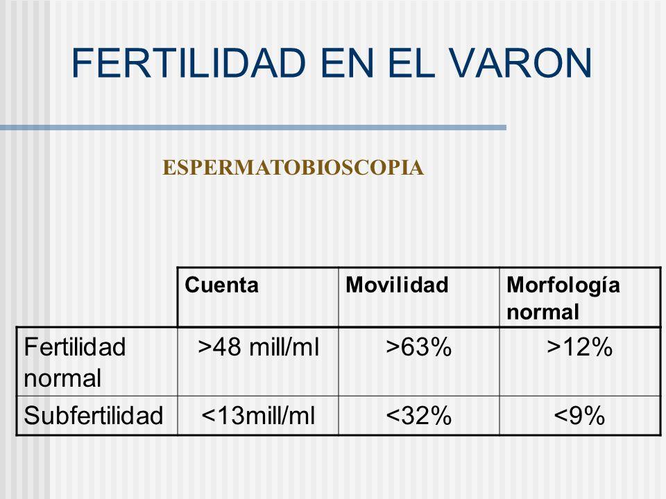 FERTILIDAD EN EL VARON Fertilidad normal >48 mill/ml >63%
