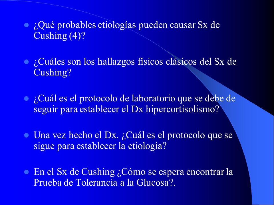 ¿Qué probables etiologías pueden causar Sx de Cushing (4)