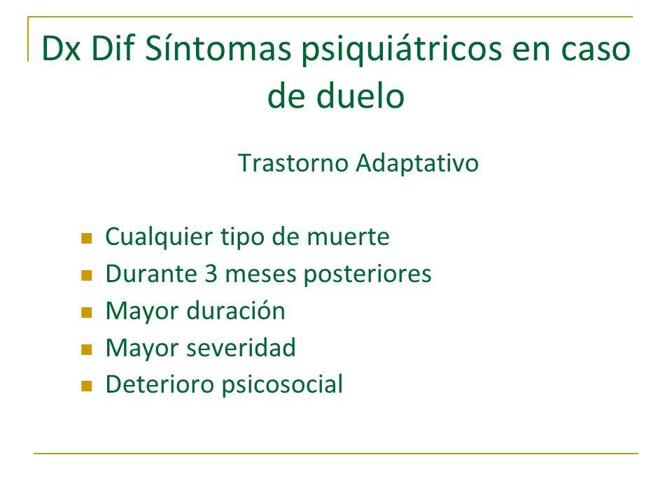 Dx Dif Síntomas psiquiátricos en caso de duelo