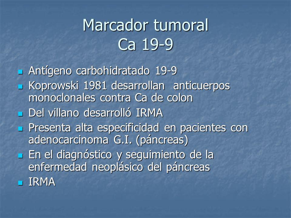 Marcador tumoral Ca 19-9 Antígeno carbohidratado 19-9