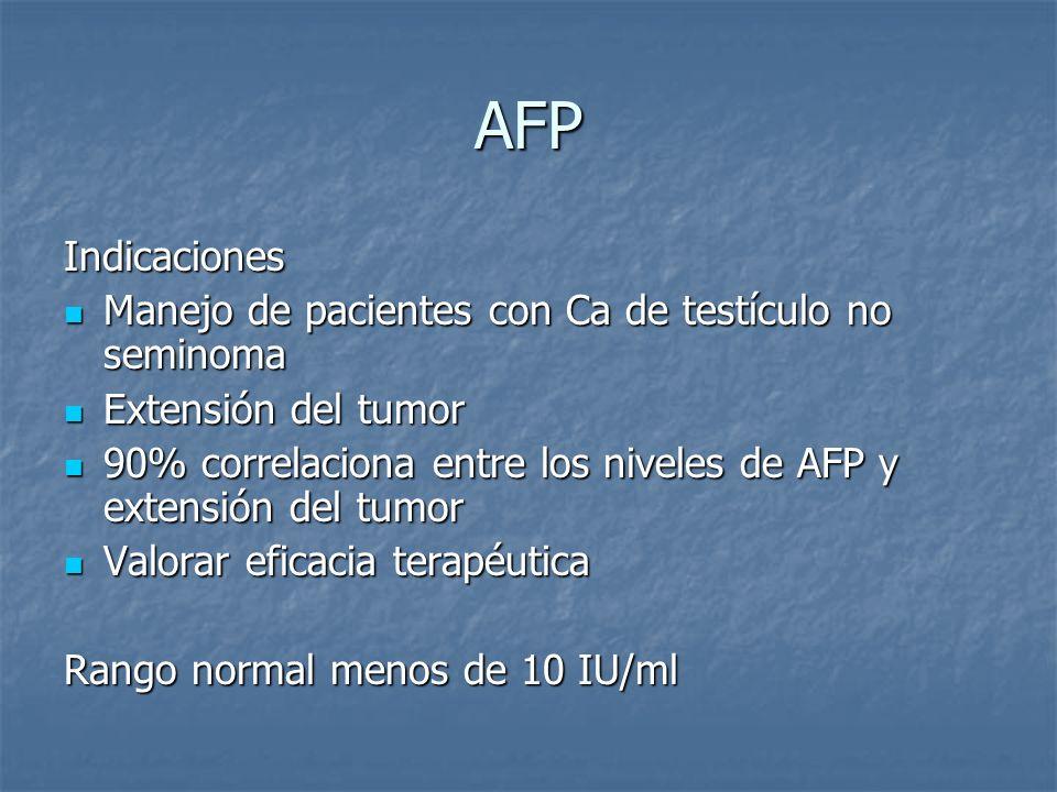 AFP Indicaciones Manejo de pacientes con Ca de testículo no seminoma