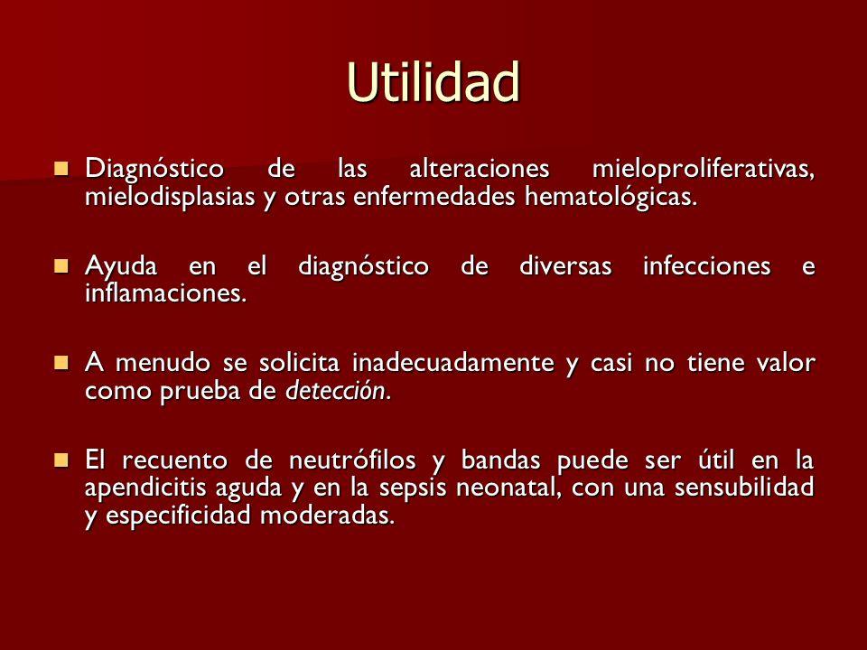 UtilidadDiagnóstico de las alteraciones mieloproliferativas, mielodisplasias y otras enfermedades hematológicas.