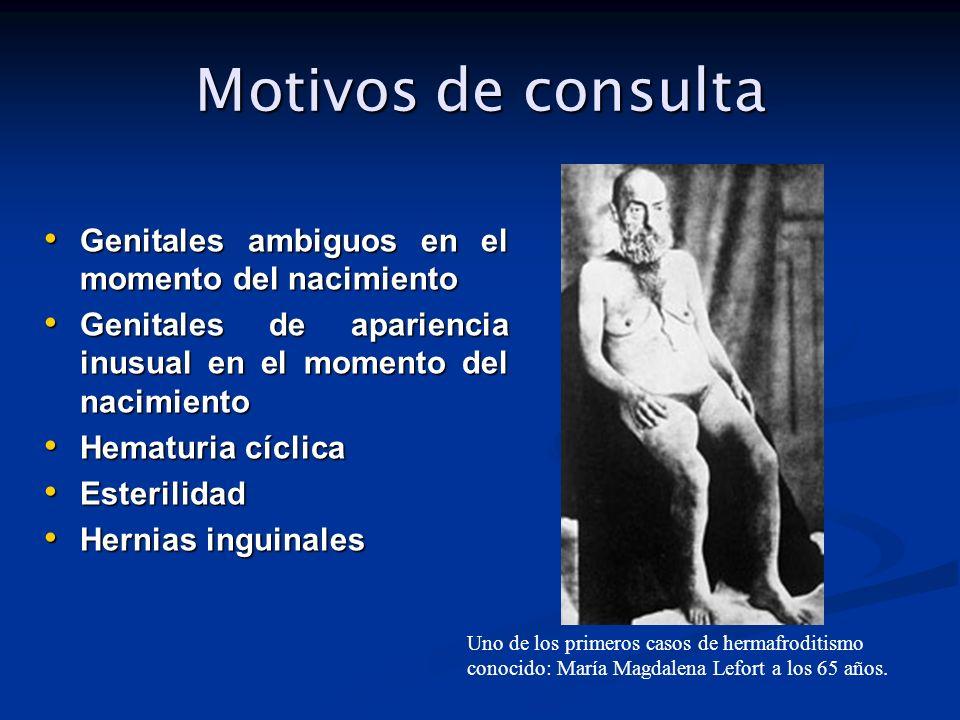 Motivos de consulta Genitales ambiguos en el momento del nacimiento