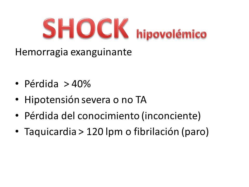 SHOCK hipovolémico Hemorragia exanguinante Pérdida > 40%