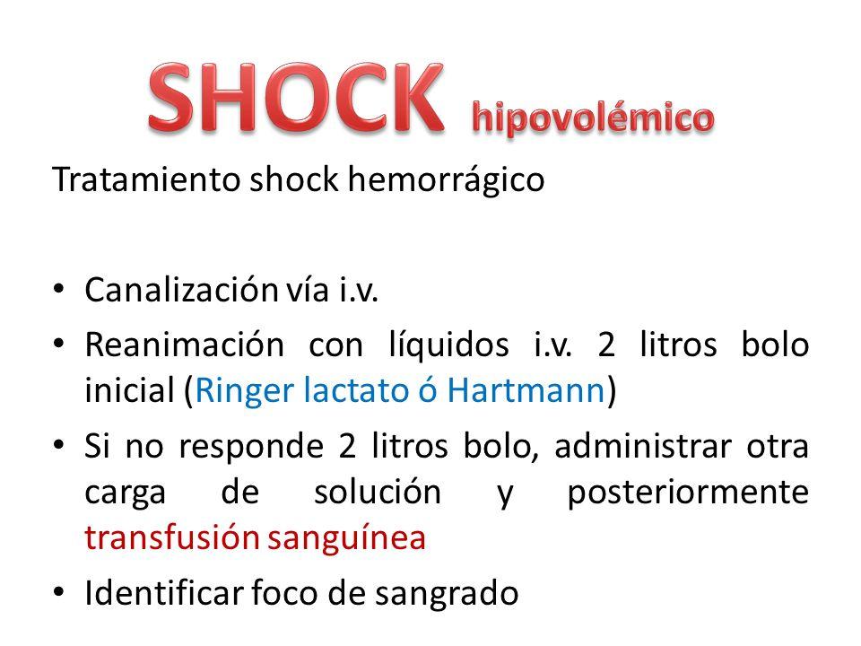 SHOCK hipovolémico Tratamiento shock hemorrágico Canalización vía i.v.