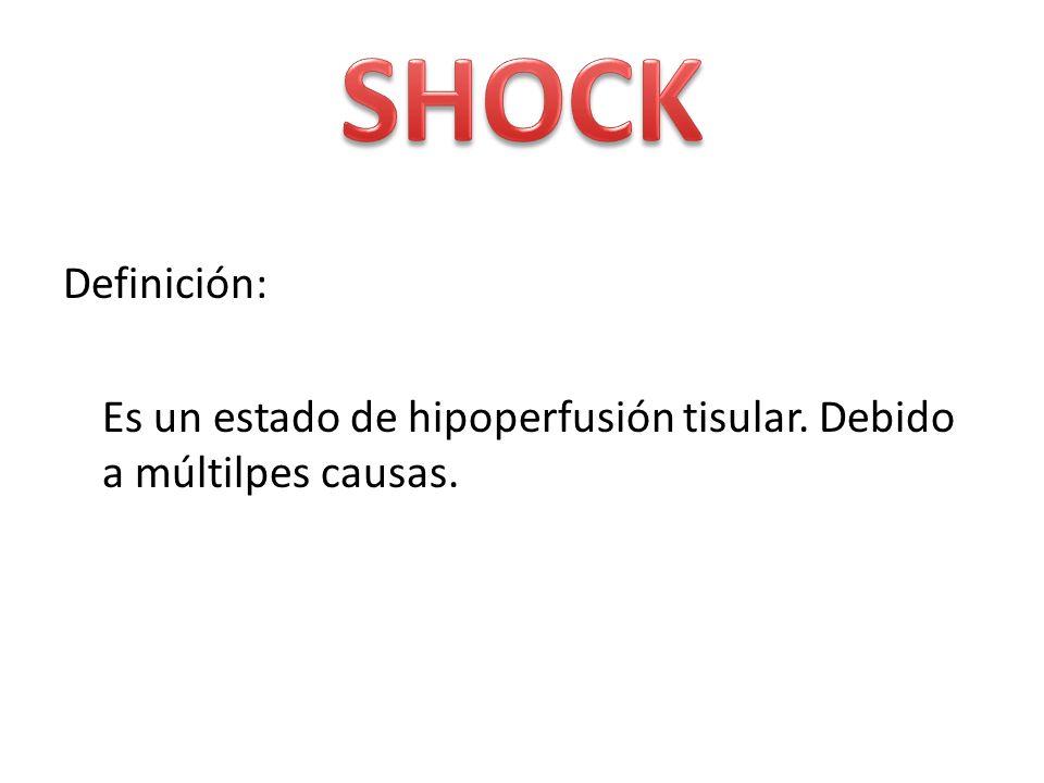 SHOCK Definición: Es un estado de hipoperfusión tisular. Debido a múltilpes causas.