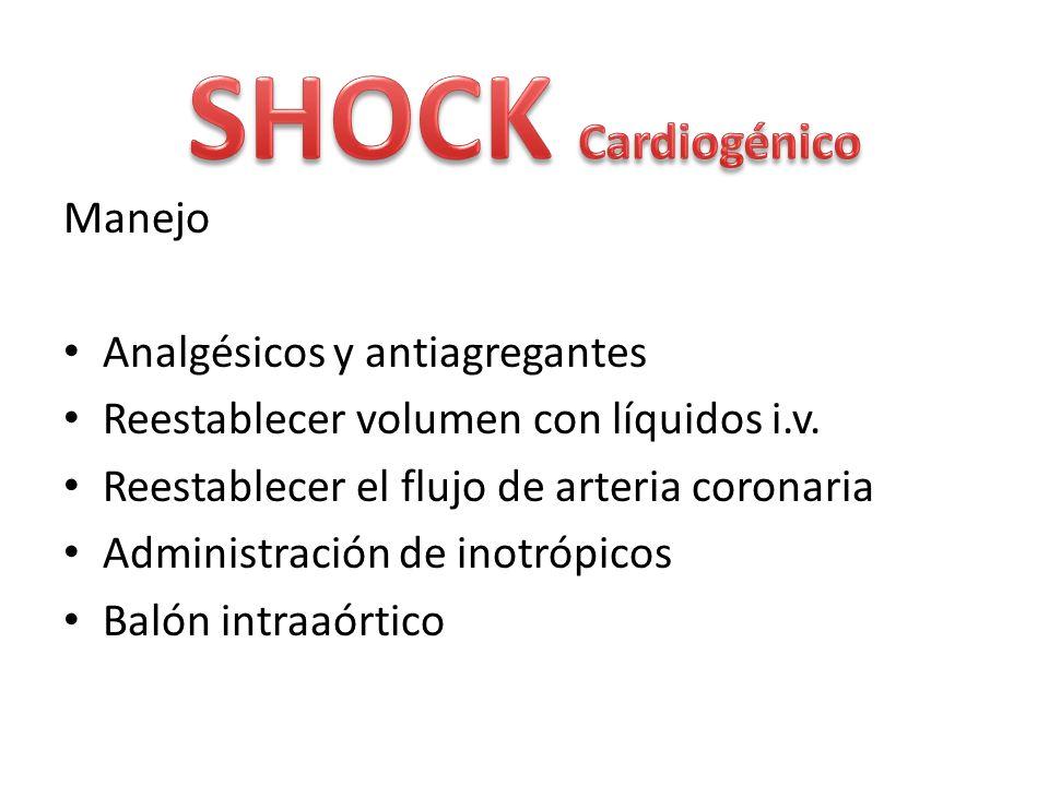 SHOCK Cardiogénico Manejo Analgésicos y antiagregantes