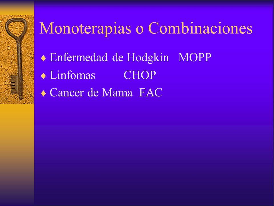 Monoterapias o Combinaciones