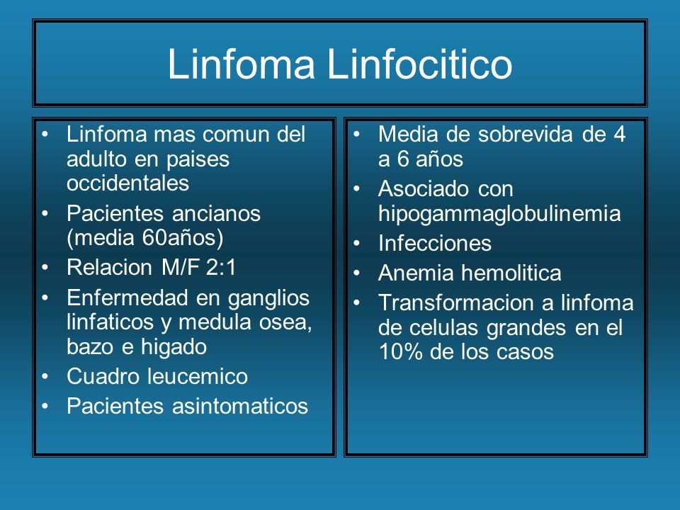 Linfoma Linfocitico Linfoma mas comun del adulto en paises occidentales. Pacientes ancianos (media 60años)