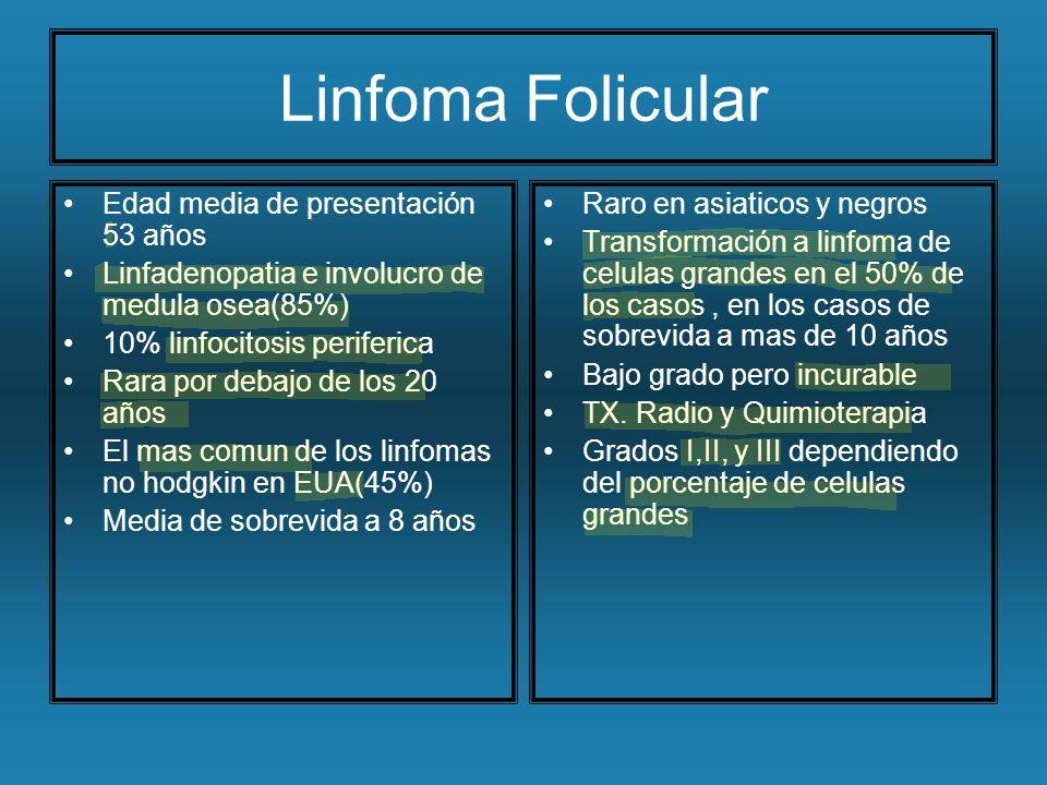Linfoma Folicular Edad media de presentación 53 años
