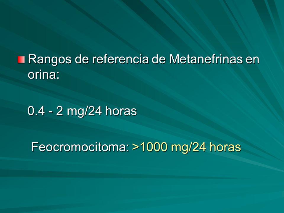 Rangos de referencia de Metanefrinas en orina: