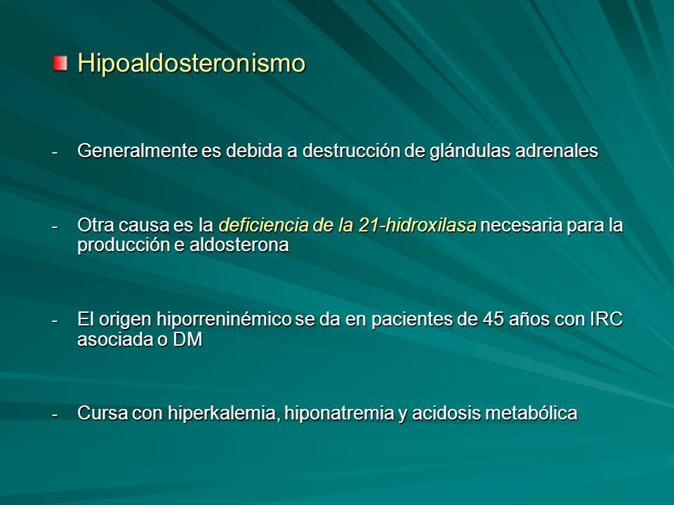 HipoaldosteronismoGeneralmente es debida a destrucción de glándulas adrenales.