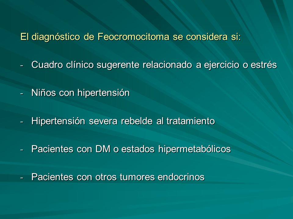 El diagnóstico de Feocromocitoma se considera si: