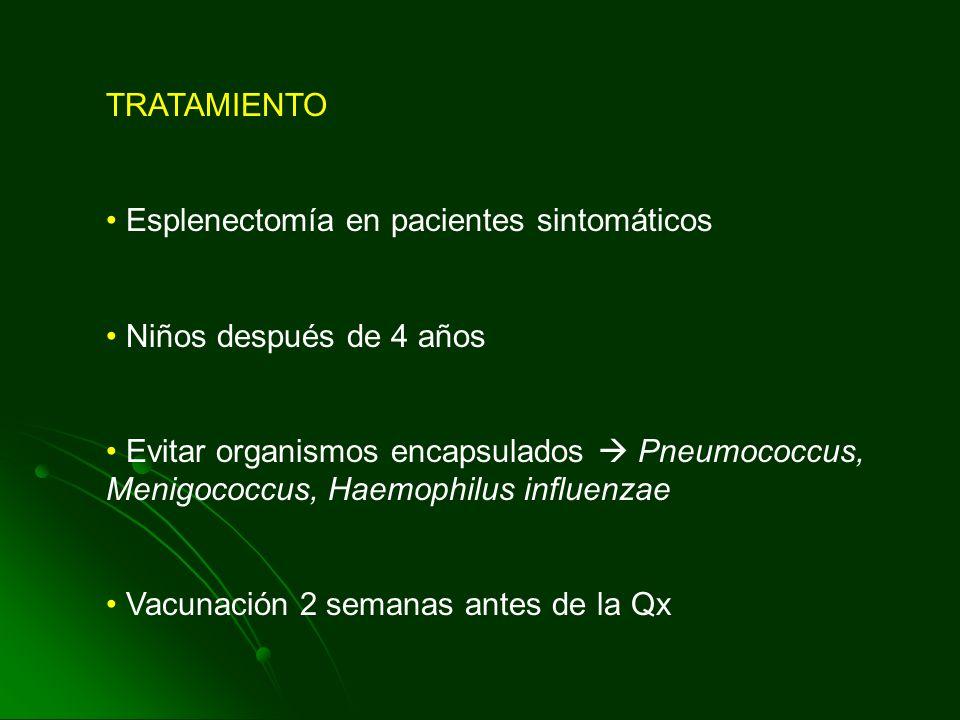TRATAMIENTO Esplenectomía en pacientes sintomáticos. Niños después de 4 años.