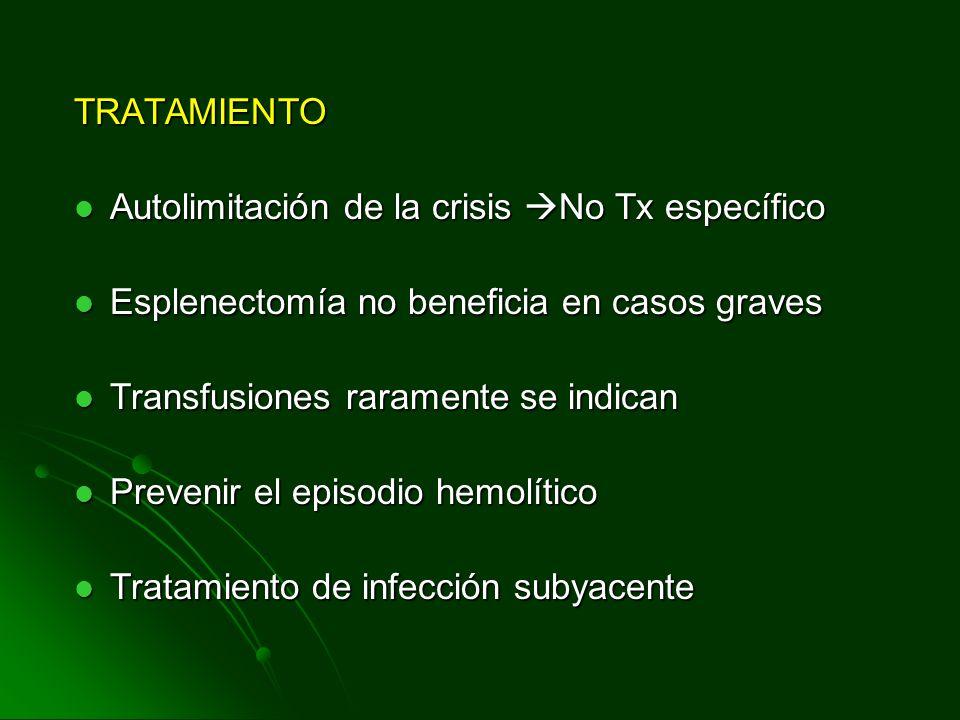 TRATAMIENTO Autolimitación de la crisis No Tx específico. Esplenectomía no beneficia en casos graves.