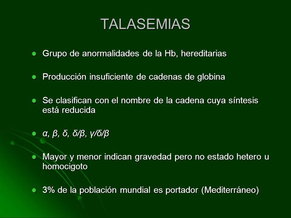 TALASEMIAS Grupo de anormalidades de la Hb, hereditarias