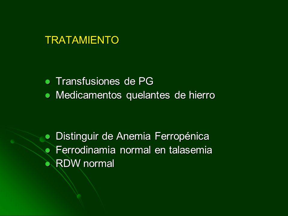 TRATAMIENTO Transfusiones de PG. Medicamentos quelantes de hierro. Distinguir de Anemia Ferropénica.