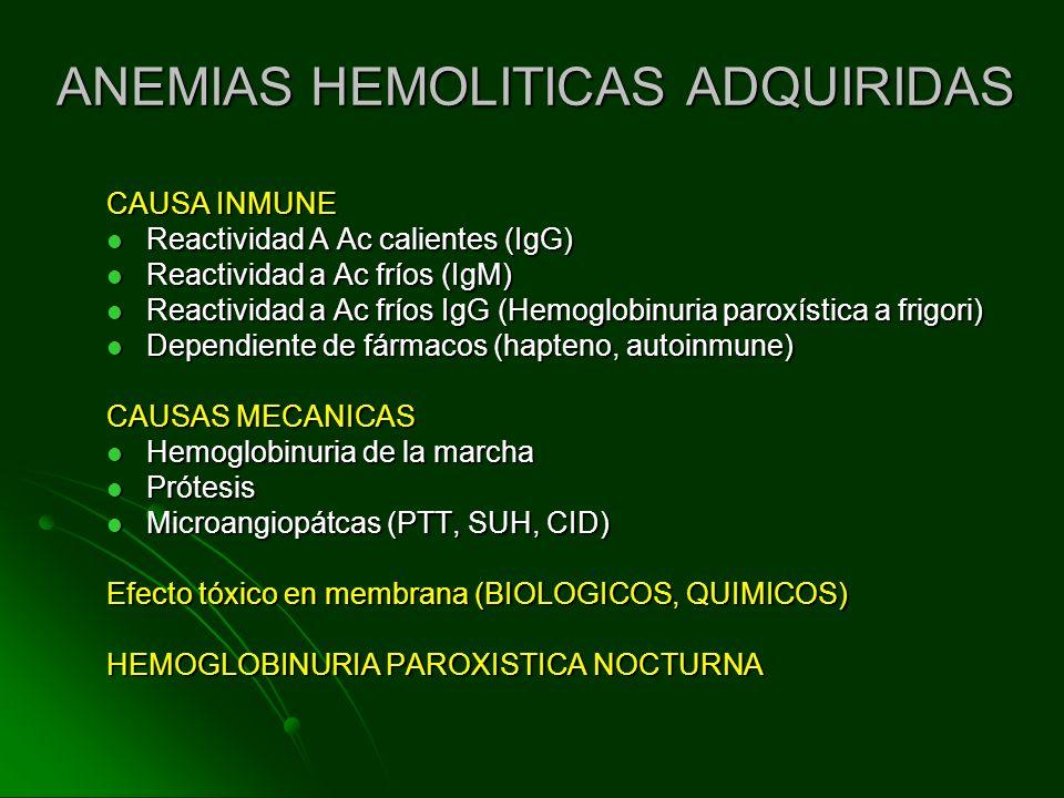ANEMIAS HEMOLITICAS ADQUIRIDAS