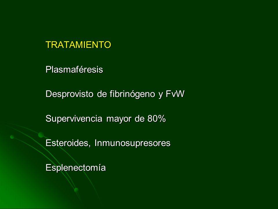 TRATAMIENTO Plasmaféresis. Desprovisto de fibrinógeno y FvW. Supervivencia mayor de 80% Esteroides, Inmunosupresores.