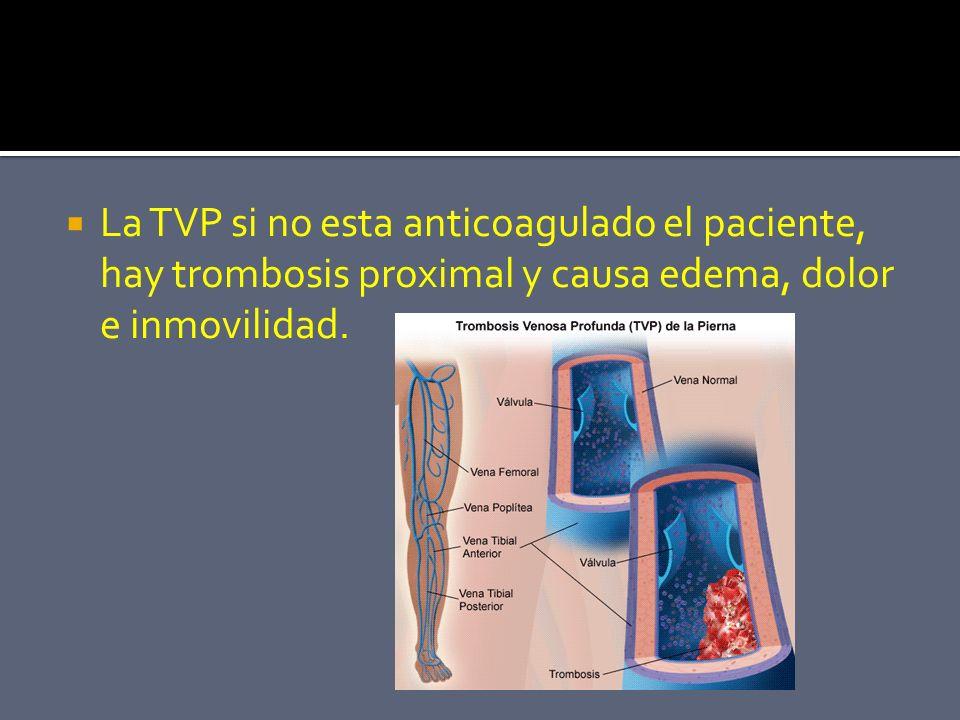 La TVP si no esta anticoagulado el paciente, hay trombosis proximal y causa edema, dolor e inmovilidad.