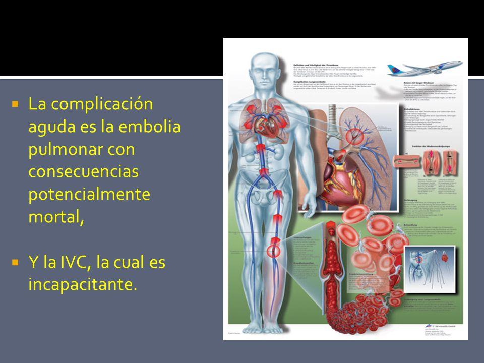 La complicación aguda es la embolia pulmonar con consecuencias potencialmente mortal,