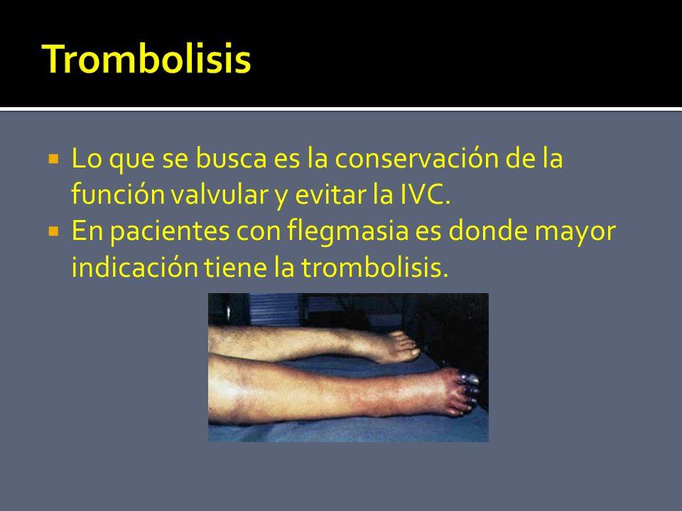 Trombolisis Lo que se busca es la conservación de la función valvular y evitar la IVC.