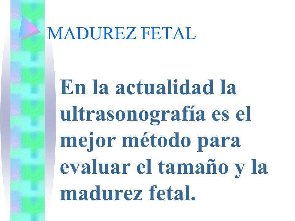 MADUREZ FETALEn la actualidad la ultrasonografía es el mejor método para evaluar el tamaño y la madurez fetal.