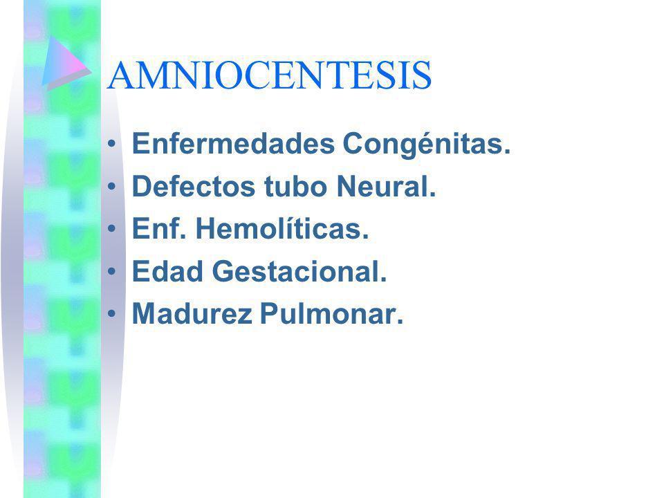 AMNIOCENTESIS Enfermedades Congénitas. Defectos tubo Neural.
