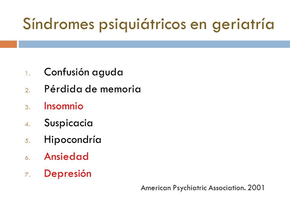 Síndromes psiquiátricos en geriatría