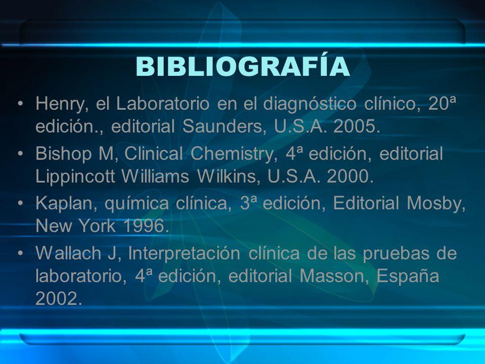BIBLIOGRAFÍA Henry, el Laboratorio en el diagnóstico clínico, 20ª edición., editorial Saunders, U.S.A. 2005.