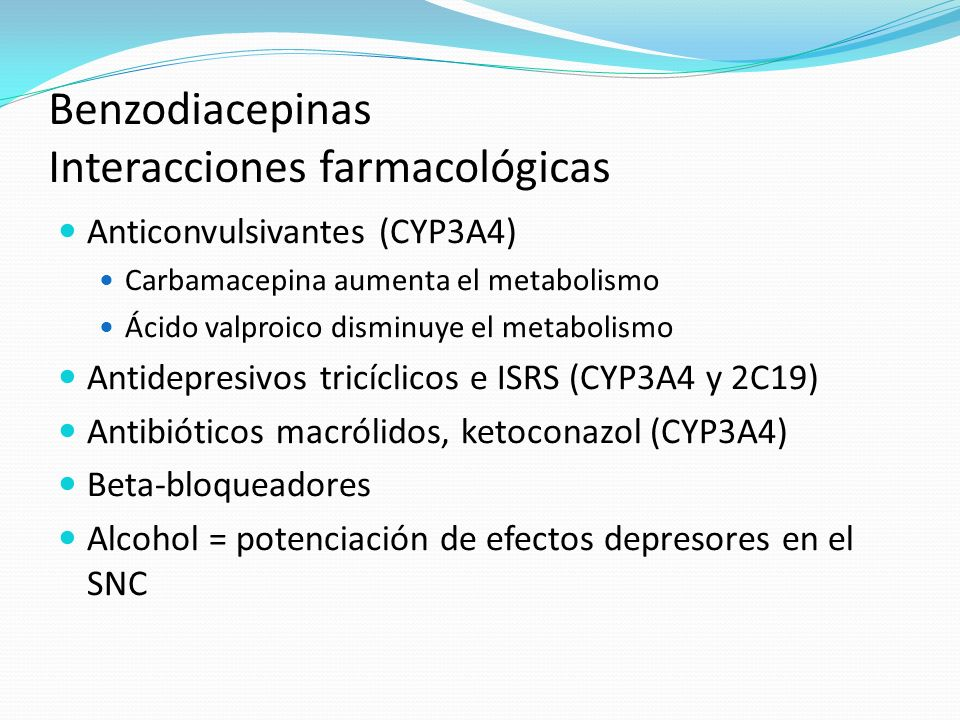 Benzodiacepinas Interacciones farmacológicas