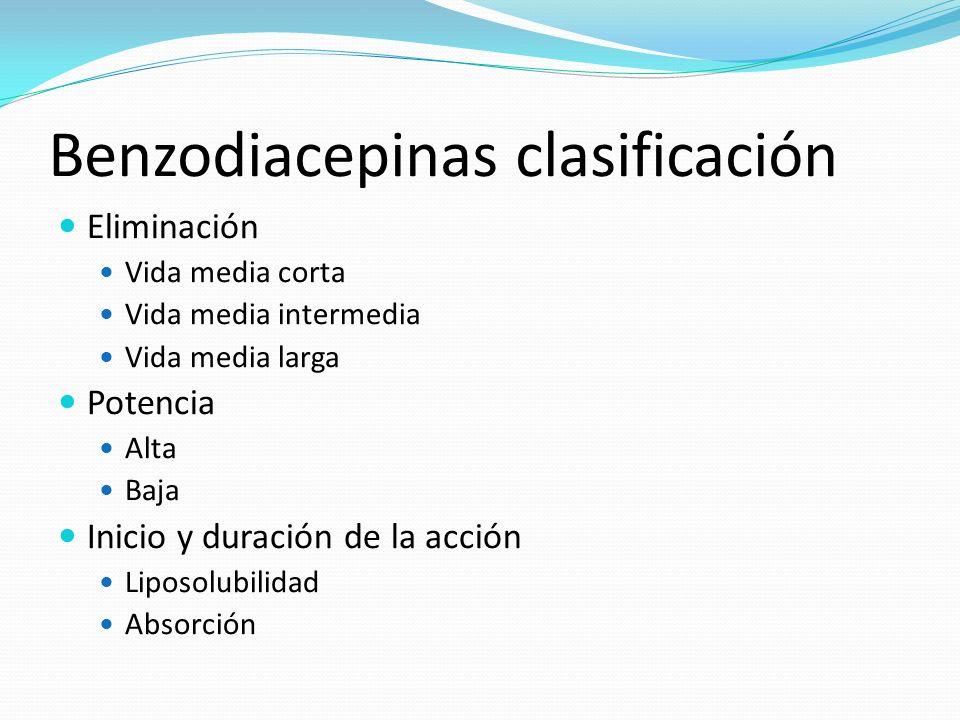 Benzodiacepinas clasificación