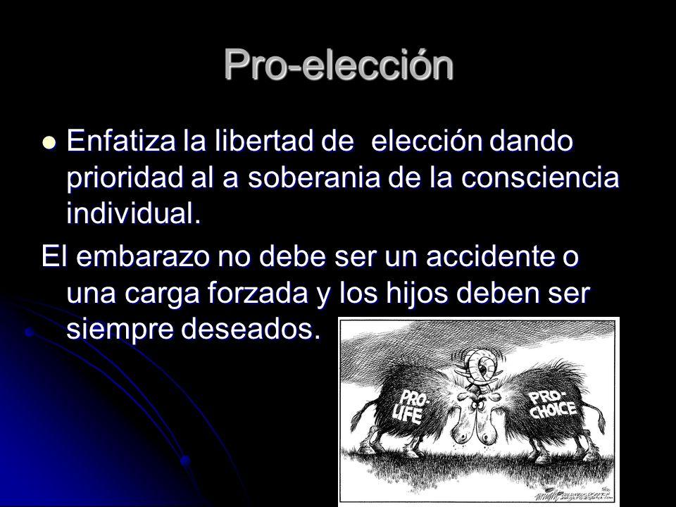Pro-elección Enfatiza la libertad de elección dando prioridad al a soberania de la consciencia individual.
