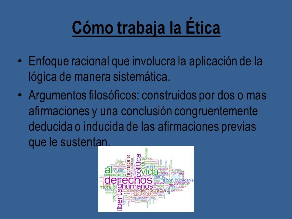 Cómo trabaja la ÉticaEnfoque racional que involucra la aplicación de la lógica de manera sistemática.