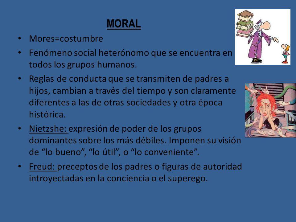 MORAL Mores=costumbre. Fenómeno social heterónomo que se encuentra en todos los grupos humanos.