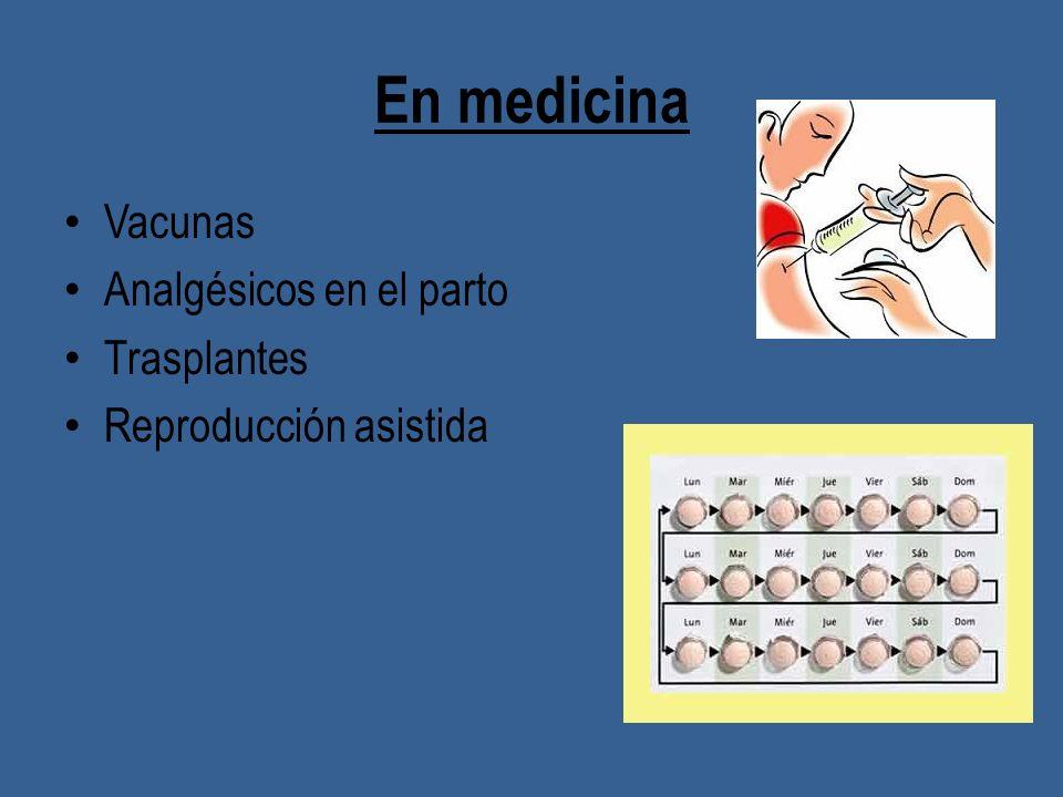 En medicina Vacunas Analgésicos en el parto Trasplantes