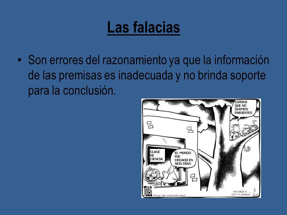 Las falacias Son errores del razonamiento ya que la información de las premisas es inadecuada y no brinda soporte para la conclusión.