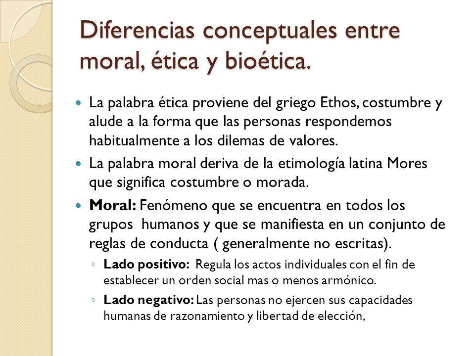 Diferencias conceptuales entre moral, ética y bioética.